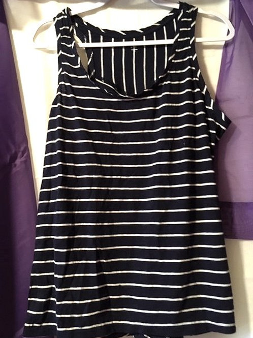 Juniors Size X Large Navy White Striped Sleeveless Top