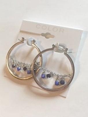 Ladies Silver Hoop Blue Rhinestone Earrings