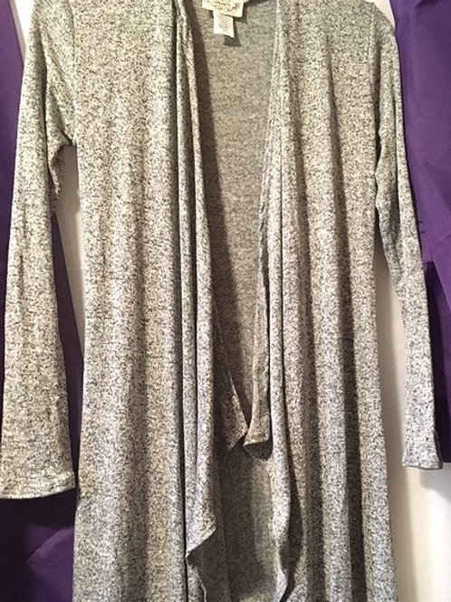Juniors Ladies Gray Maxi Long Sleeve Cardigan Sweater