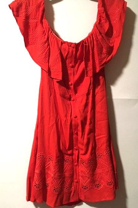 Juniors Size Medium Red Tangerine Drop Off Shoulder Dress