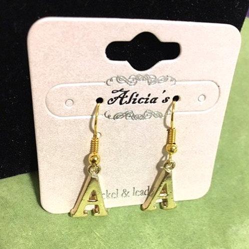 Ladies Gold Initial Dangling Pierced Earrings