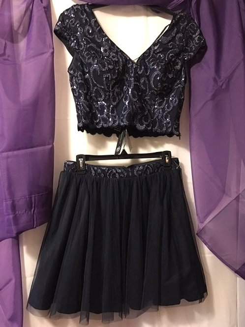 Juniors Size 7 As You Wish Navy Sequin Prom Special Occasion Outfit