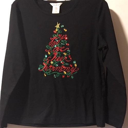 Ladies Sophia & Jayne Size Large Petite Black Christmas Top