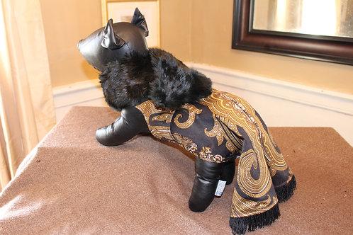 Damask print box pleat dress with mink collar