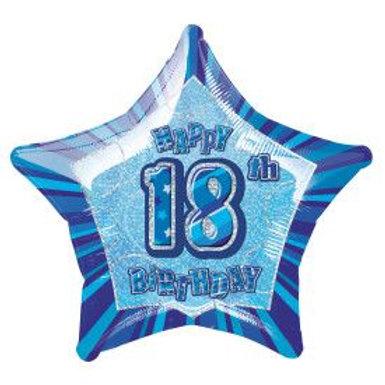 "Balloon Foil 18"" Happy Birthday 18 Blue"