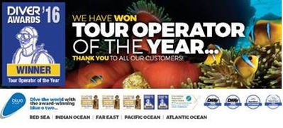 Bästa dykresearrangören 2016, Bäst på dykresor, Diver Awards 2016, Tour Operator of the year 2016, Bäst på Liveaboard, Best Liveaboards