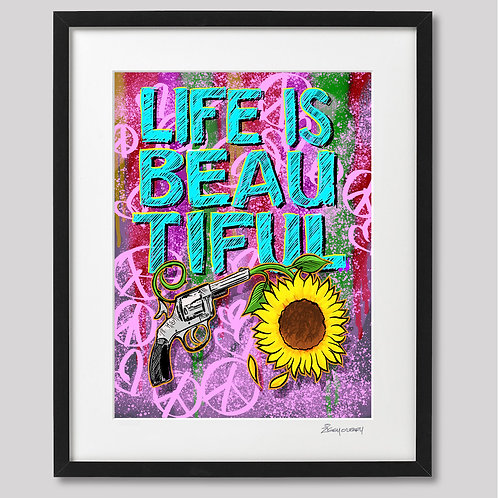 """Life is Beautiful ,Gun and Sunflower"" framed print"