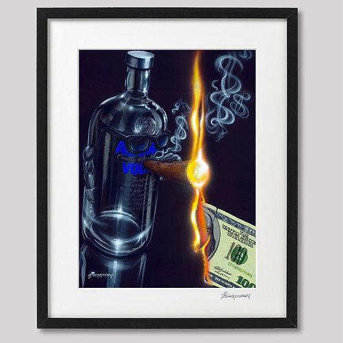 """Absolutly Smokin"" framed print"