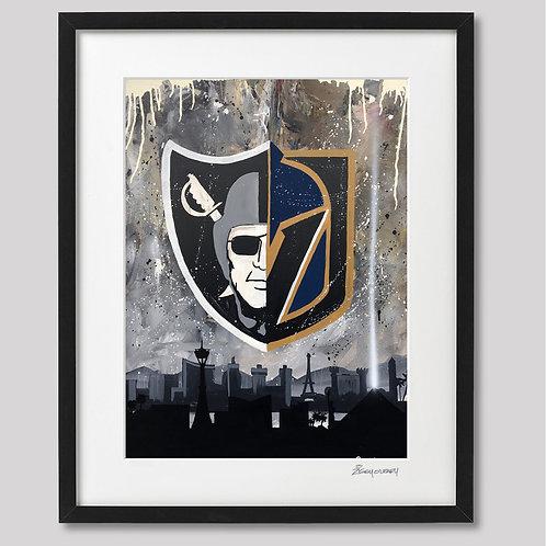 """""""Raiders/Golden Knights"""" framed print"""