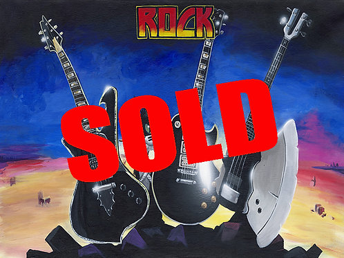 K I S S Destroyer Guitars   Original Painting 24x30