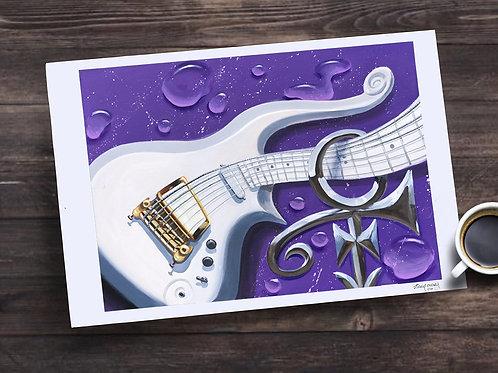 """Purple Rain"" Cloud Guitar"" 13X19 print"