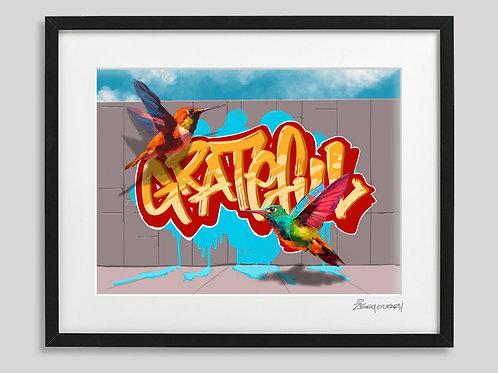 """""""Grateful"""" framed print"""
