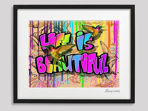 """Life is Beautiful Hummingbirds"" framed print"