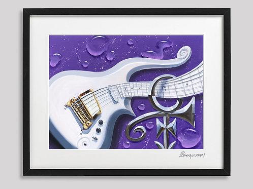 "the ""Purple Rain"" Cloud guitar   framed print"