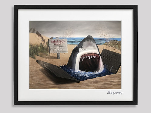 """Beaches Closed""  framed print"