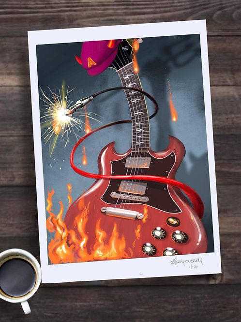 Angus Young AC/DC Limited edition Print
