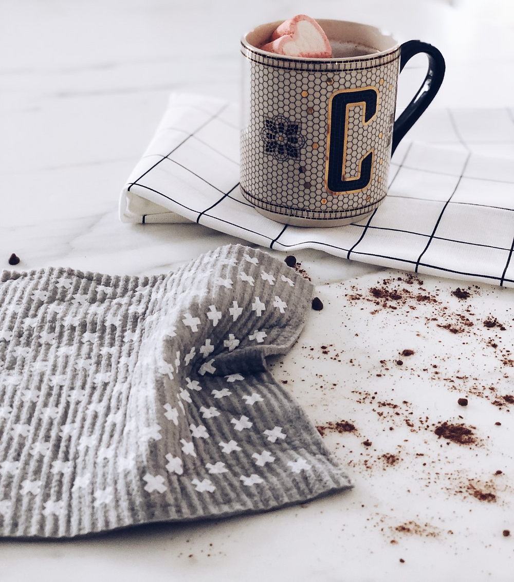 swedish sponge cloth mug marshmellow tea towel hot chocolate