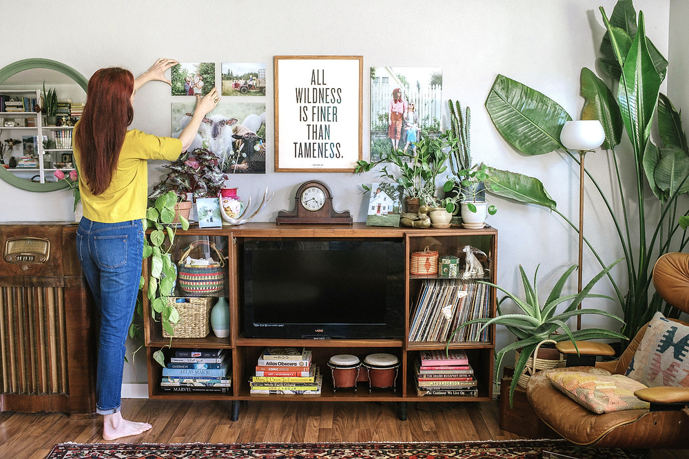 glass photo prints in living room with plants