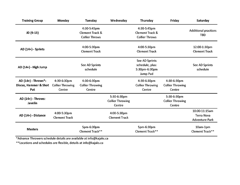 2021 training schedule January to March