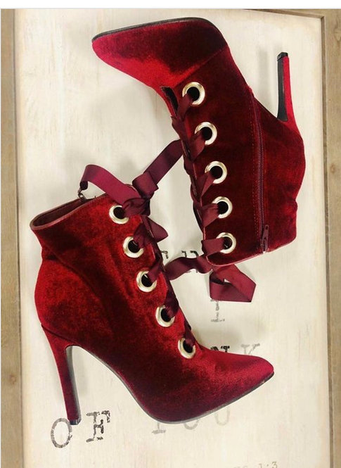 Stiletto High Heel Lace Up Ankle Booties