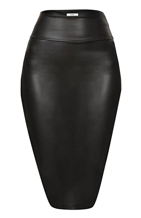 Misses and Plus Size Faux Leather Skirt