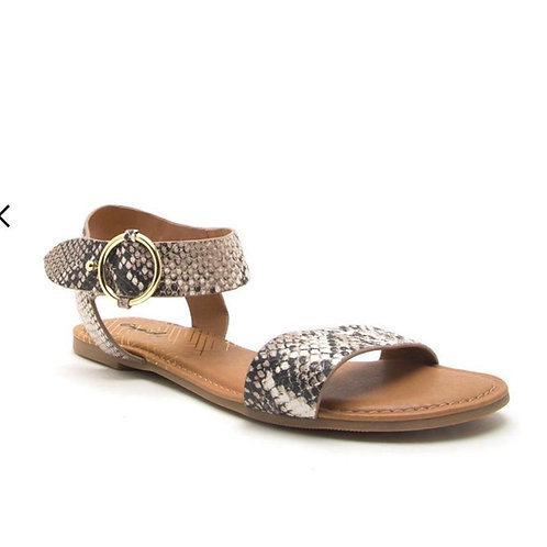 Snake Skin Flats Beige and Brown