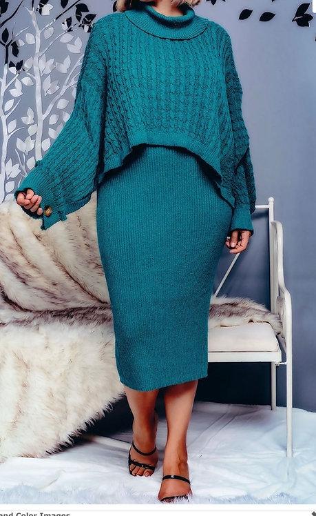 2pc Plus size shawl and sweater dress set