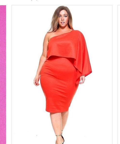 Coral One Shoulder Dress