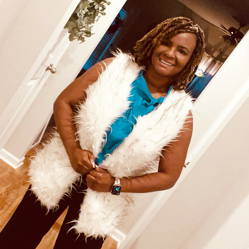 Fur White Vest with Brown Spikes