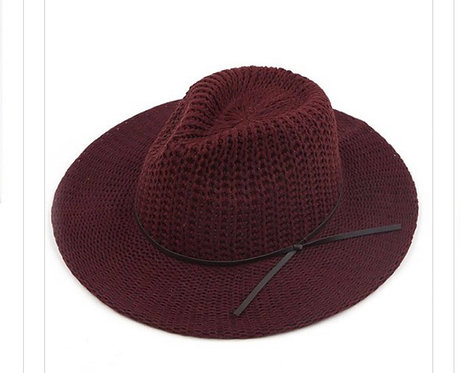 Knitted Fedora Hats with Leather String ( Varies Colors)