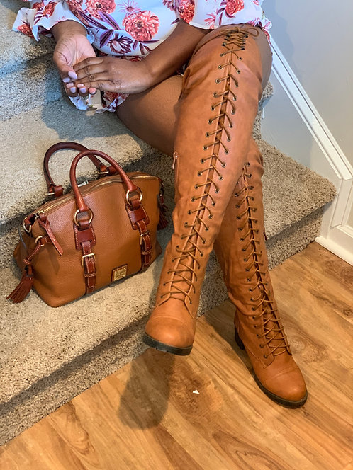 Dark Tan Over the Knee Boots