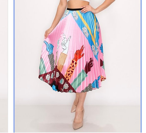 Multi Colored Pleated High Waist Skirts/elastic