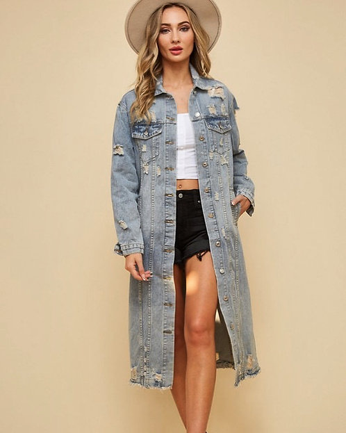 Washed Long Jean Jacket/Restocked