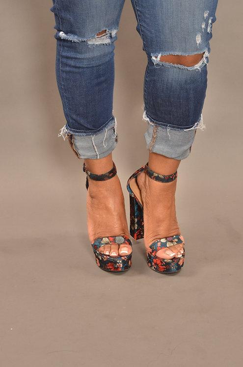 Floral Blue Block Heels