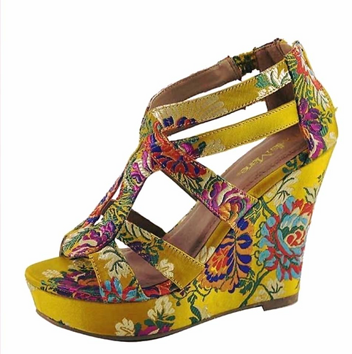 Summer Yellow Multi Colored Wedges