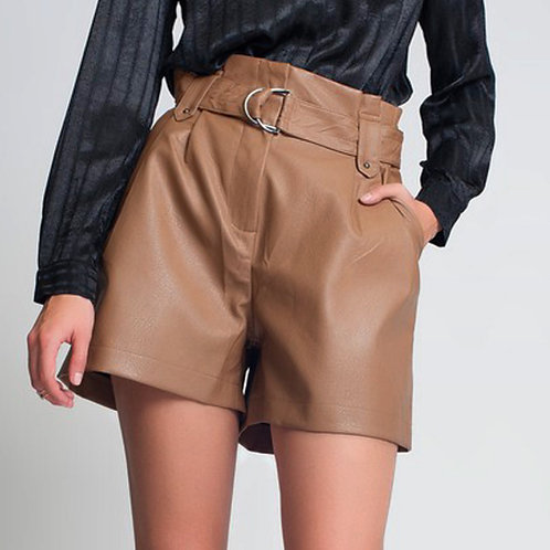Faux Brown Leather Shorts