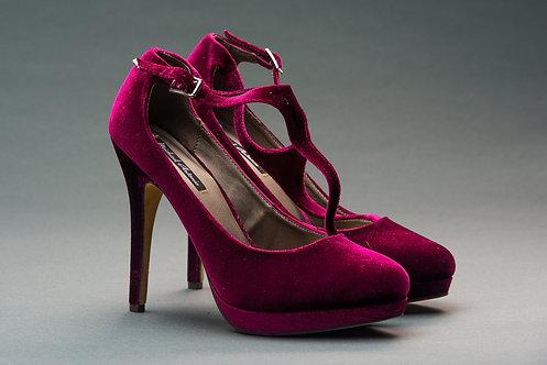 Burgundy T-Strap Almond Pump Stiletto Heels