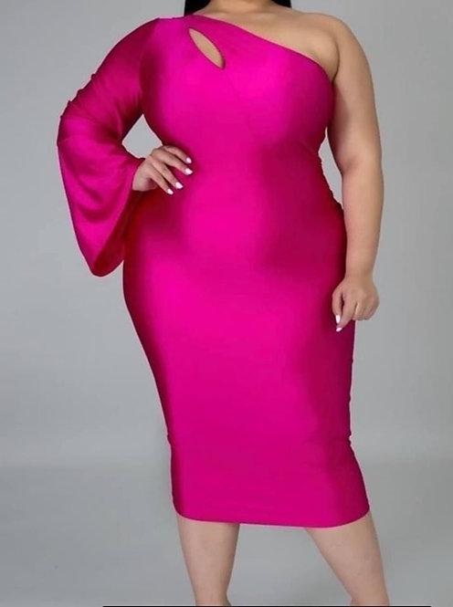 Curvy Hot Pink  One Shoulder Dress