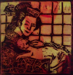 Geisha con gatto