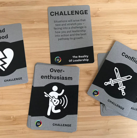 CHALLENGE cards highlight the situations you need to face into as a leader