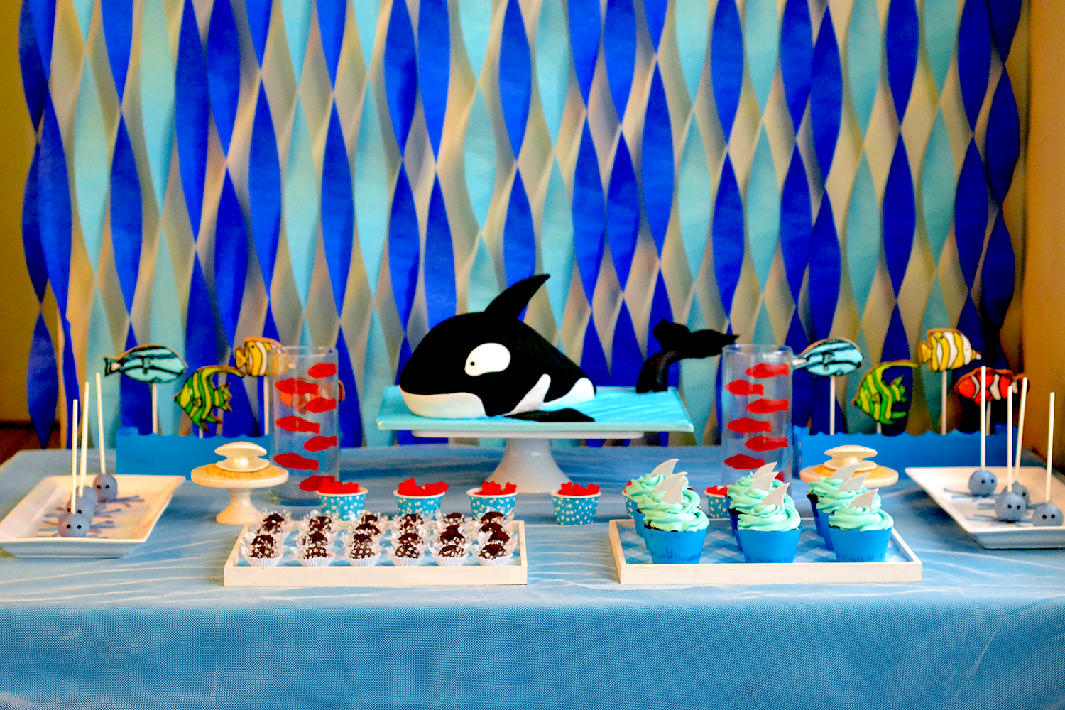 Ocean birthday dessert table