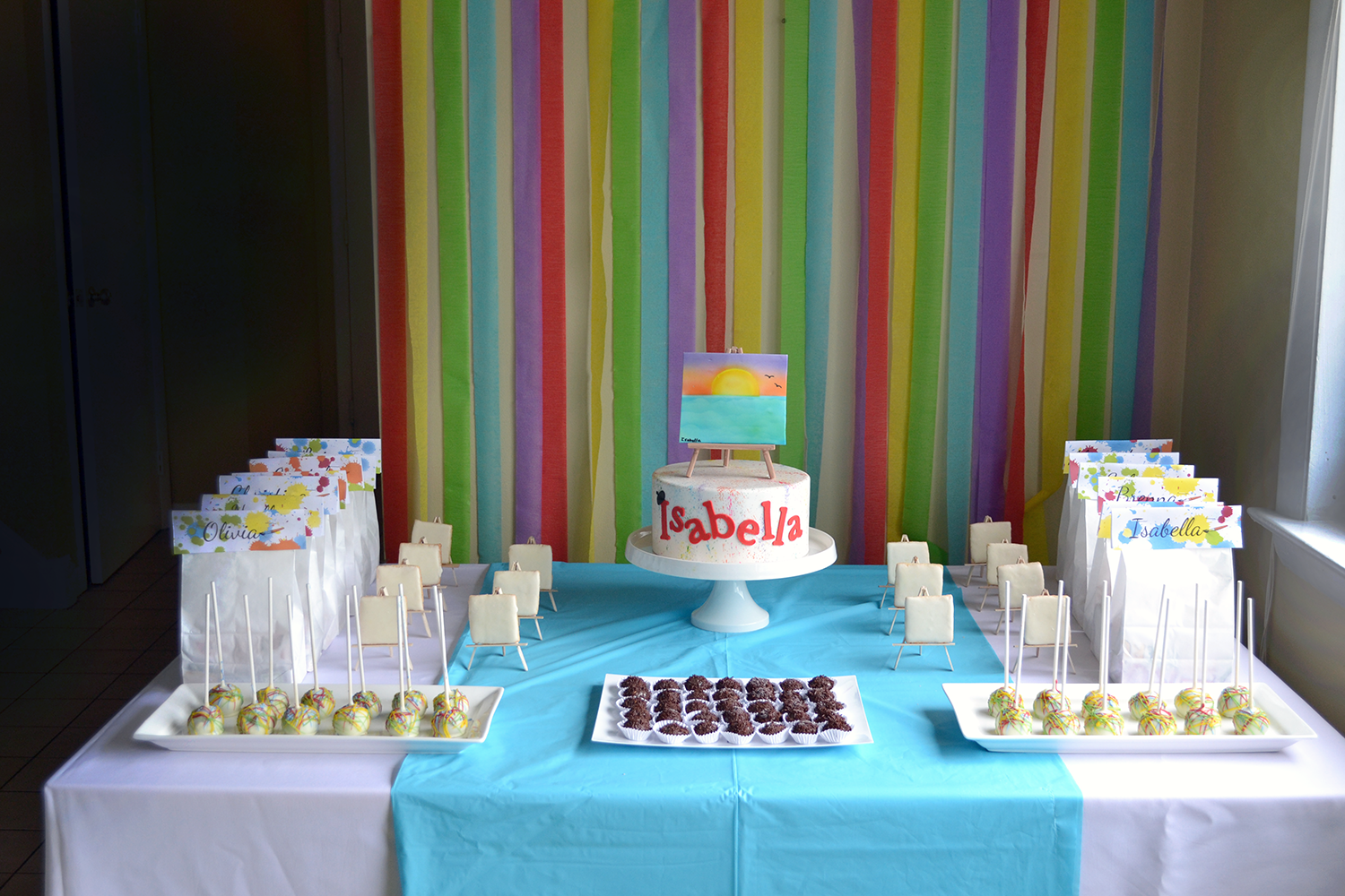 Artist birthday dessert table