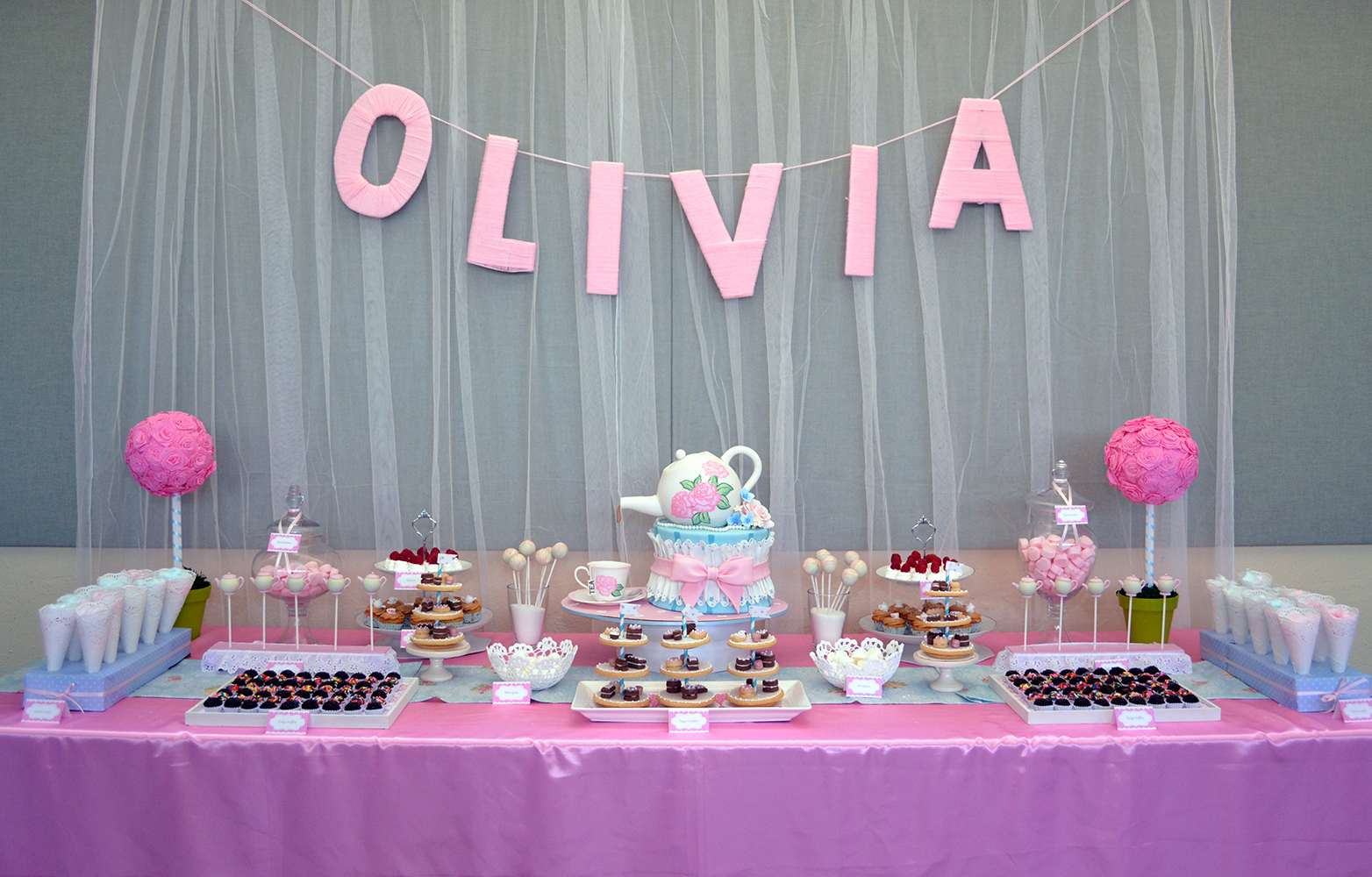 Tea time birthday dessert table