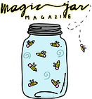 Logo for Magic Jar Magazine, featuring a glass jar. Inside the glass jar are flying pencils.