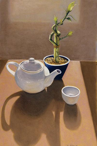 White Teapot and Bamboo
