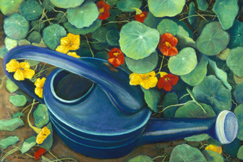 Nasturtiums and Watering Can