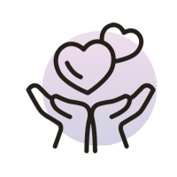 icon of hands holding hearts