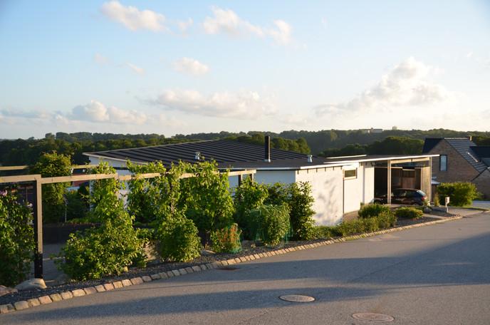 Grøn design-villa m smal forhave- ankomst fra gaden