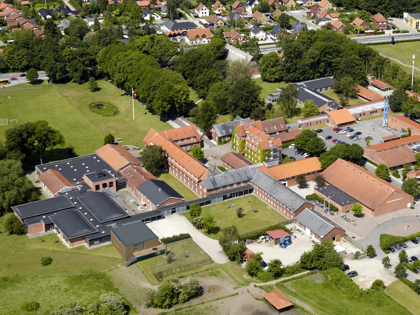 Innovations & lærings bygning -Dalum Landbrugsskole igangværende projekt Luftfoto