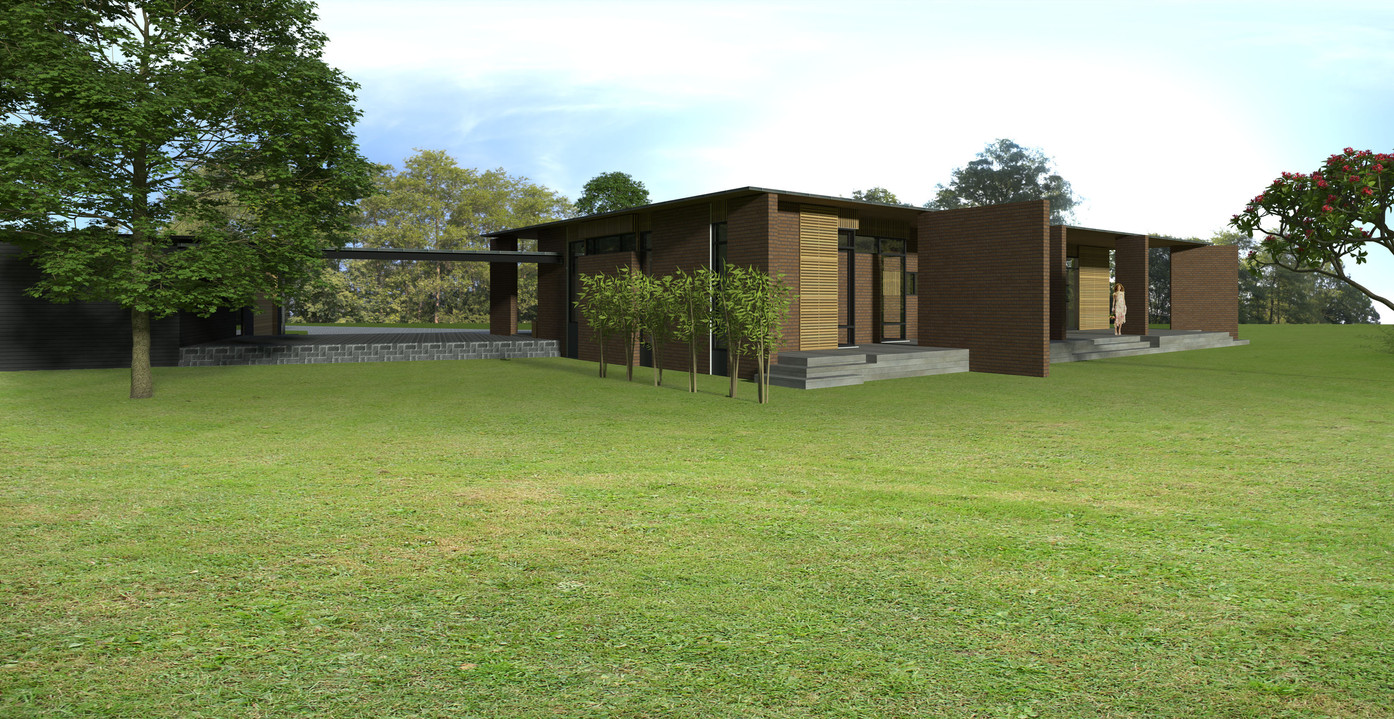 Villa i dæmpede, bæredygtige materialer